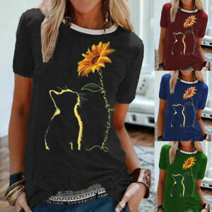 Womens-Summer-T-Shirt-Ladies-Loose-Sunflower-Blouse-Tee-Holiday-Casual-Cat-Tops