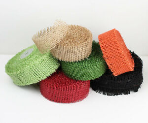 "2.5"" Burlap Ribbon 10 Yard Roll with Frayed Edges (6 colors)"