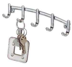 Chrome Key Holder Rack 5 Hooks Wall Mount Organizer Keys