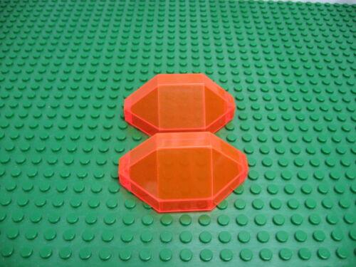 2x LEGO Trans-Neon Orange Panel 3 x 3 x 6 Corner Convex 6973 6494 #2468