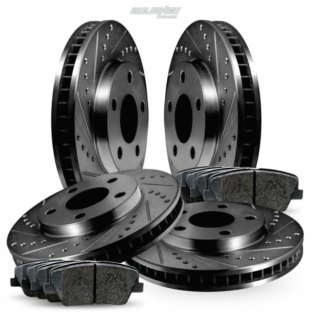 Full Kit Black Drilled Slotted Brake Rotors And Pads For