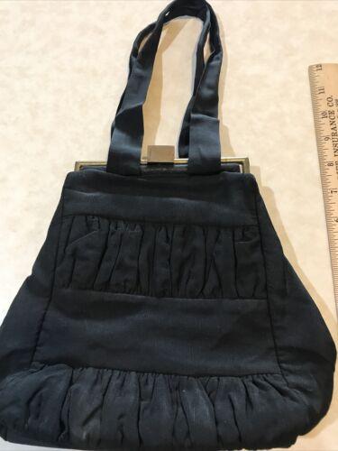 VINTAGE BLACK CLOTH PURSE;CASTLE PURSE BRAND;40's