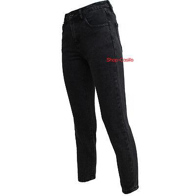 Jeans Donna Vita Alta Nero Regular Fit Non Elastico Alla Caviglia Pantalone Top