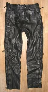""""""" CROMWELL """" Damen- Schnür- LEDERJEANS / Biker- Lederhose in schwarz ca. Gr. 38"""