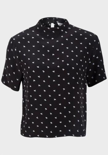 New Ladies Viscose Shell Top Black Short Sleeve High Neck Tunic Sizes 6-14