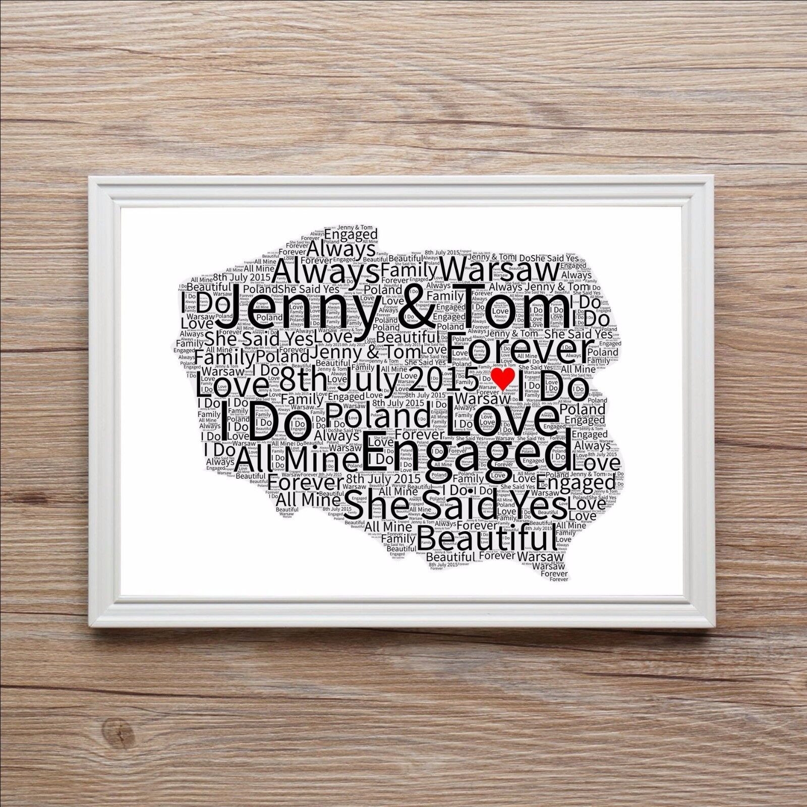 Engagement word art gift map of love anniversary wedding present personalised word art print map of love poland gumiabroncs Choice Image