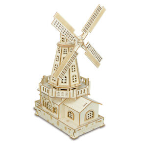 Assembly-Kit-DIY-Education-Toy-3D-Wooden-Model-Puzzles-Dutch-Windmill-House