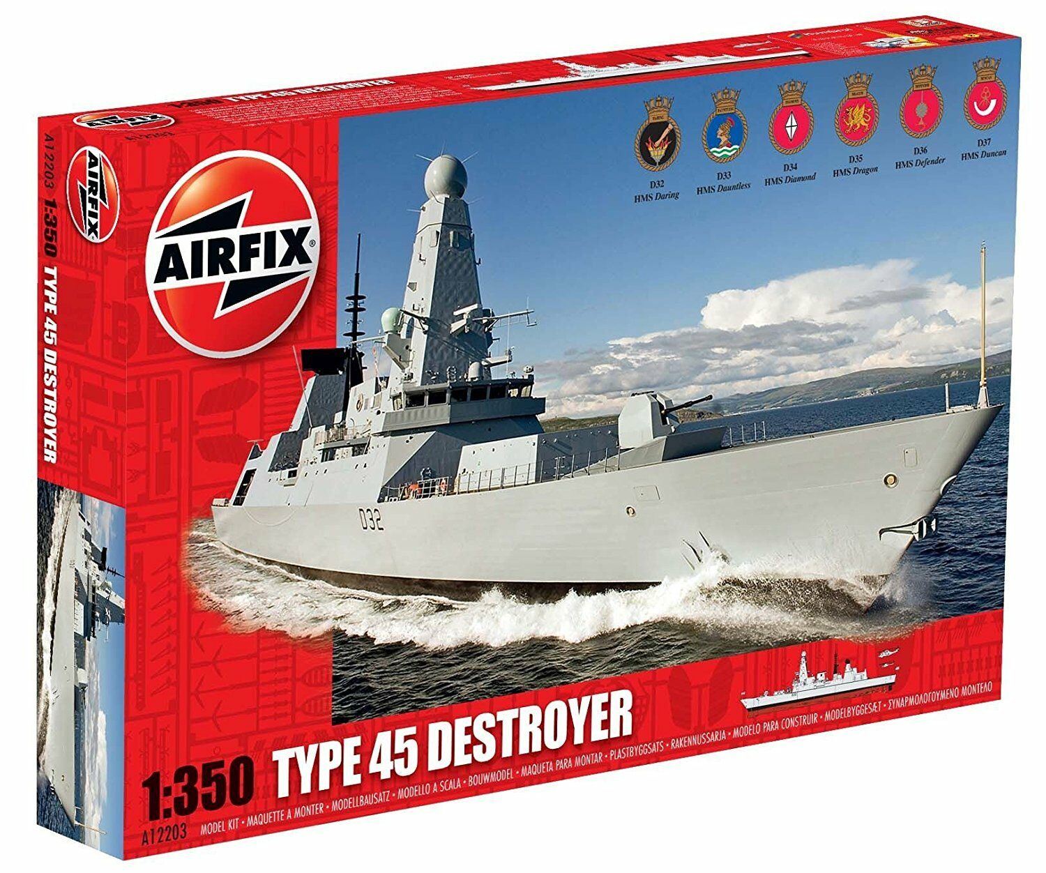 Airfix 1 350 Type 45 Destroyer HMS Daring, Duncan, Dragon (Imperfect Box)