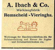 A.Ibach & Co. Remscheid -Vieringhs. WERKZEUGFABRIK Trademark 1912