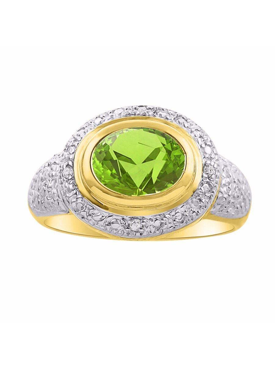 Diamond & Peridot Ring Set In 14K Yellow gold - Diamond Halo - color Stone Birth