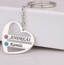 Schlüsselanhänger mit Gravur Herz Namen Strass Anhänger silber Wunschnamen 4