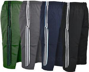 Mens-Summer-3-4-Elasticated-Waist-Long-Shorts-Zip-Pockets-M-2XL