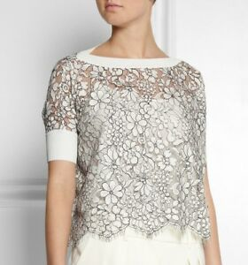 800-Valentino-Women-White-Black-Embroidered-Floral-LACE-Blouse-Shirt-Top-Size-S