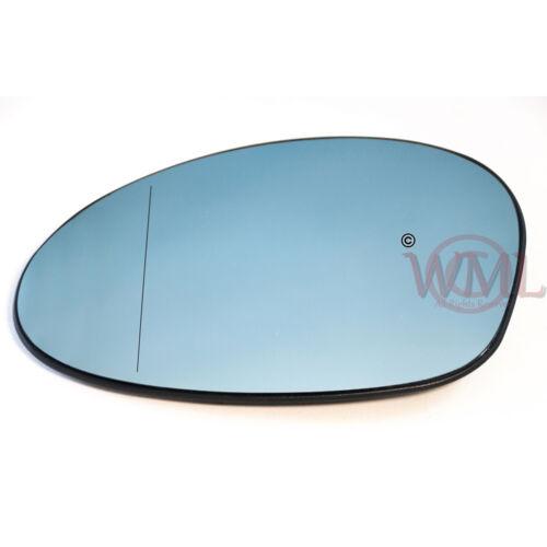 BMW serie 3 05 /> 2007 Puerta//Ala Espejo De Cristal Asférica Azul Leftside Calienta /& Base