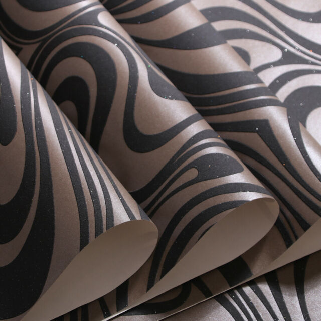 3D Wallpaper Roll Modern Luxury Abstract Curve Flocking Striped ...