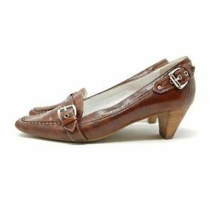 Hogl-Braun-Leder-Pumps-Heels-UK-4-EU-37-Silberschnalle-Smart-Chic