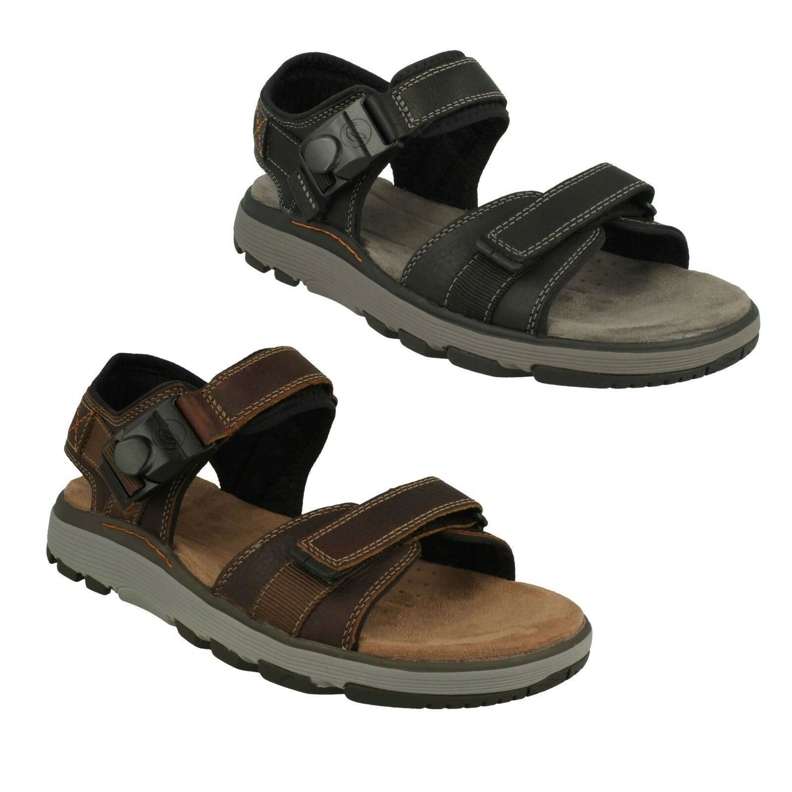 MENS CLARKS LEATHER UNSTRUCTURED BUCKLE CASUAL SUMMER SANDALS SHOES UN TREK PART