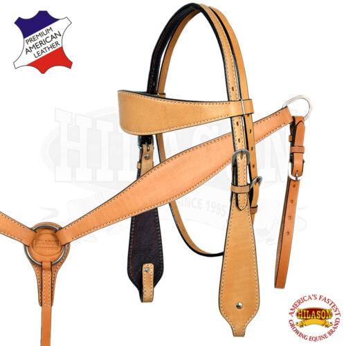 C--SET Western Horse Headstall Breast Collar Set Tack American Leather Hilason