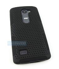 FOR LG POWER L22C DESTINY L21G FULL BLACK PERFORATED NET HYBRID CASE PHONE COVER