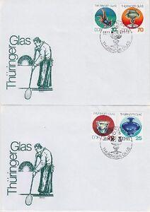 DDR-FDC-2835-2838-auf-2-FDCs-mit-SST-Berlin-Thueringer-Glas-1983-first-day