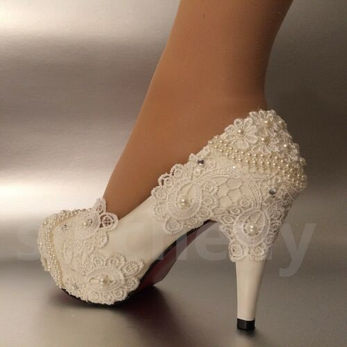 "su.cheny 3/"" 4 /"" heel white ivory lace pearls Wedding shoes pumps bride size 5-11"