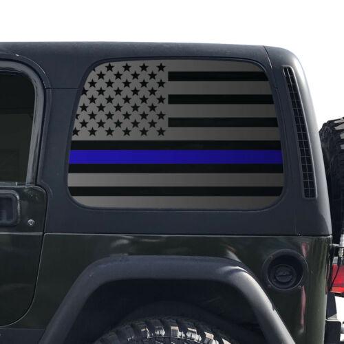 Thin Blue Line USA Flag Decal Fits 1997-2006 Jeep Wrangler TJ Window  QR6-TJ1