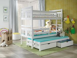 Wooden Triple Bunk Beds 3 Sleeper White Detachable With Mattresses