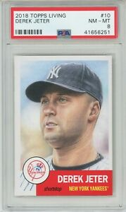 2018-Topps-Living-10-DEREK-JETER-Yankees-HOF-PSA-8-NM-MT