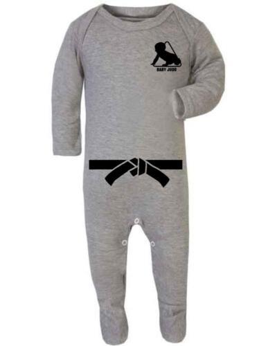 """Baby Sleep Suit Romper Baby Romper /""""Baby Judo with Black Belt/"""" Judo Baby"""