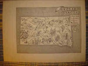 South Dakota Antique Vintage Pictorial Map
