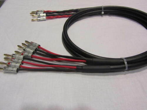 Canare 4S11 Star Quad 11 AWG BiWire Speaker Cable 1 Pair 2 to 4 Banana 12 Ft.
