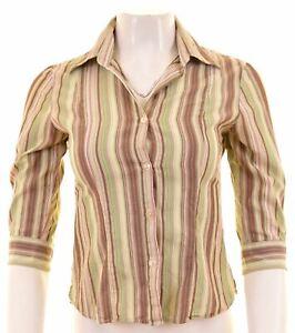 BENETTON-Womens-Shirt-3-4-Sleeve-Size-6-XS-Multicoloured-Striped-Cotton
