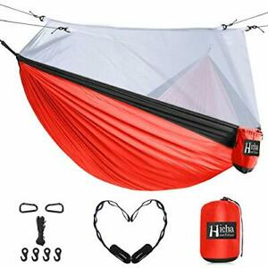 Hieha Double Camping Hammock with Mosquito Net, Portable (Crimson Red / Black)