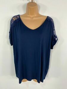 WOMENS-NEXT-NAVY-LACE-SHORT-SLEEVE-COLD-SHOULDER-SUMMER-SMART-CASUAL-TOP-UK-12