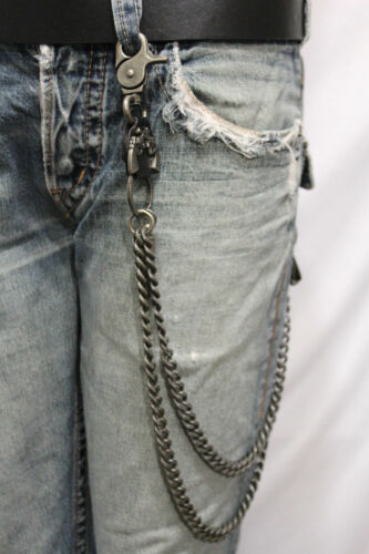 Men Silver Metal Wallet Chain Heavy Duty Leather Guns Bullet Skull Jeans Pistol