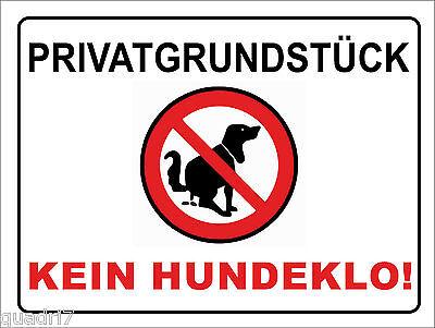 Privatgrundstück Kein Hundeklo 15x20 - 40x30cm Alu/pvc-schild Oder Klebeschild Volumen Groß
