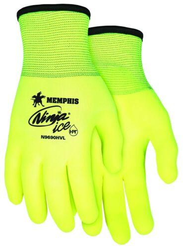 MCR Safety N9690HVXL Ninja Ice Hi-Vis 15 Gauge Lime Nylon Gloves X-Large