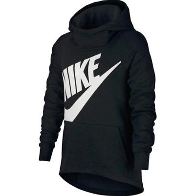 NWT$40 Nike Sportswear Big Girl Youth Big Logo Pullover Hoodie Black AJ6775 S L | eBay