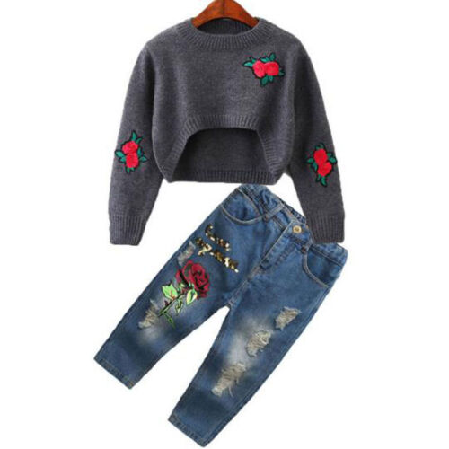 Toddler Baby Girl Rose Sweater Tops+jeans Denim Pants Outfits 2pcs Set Clothes