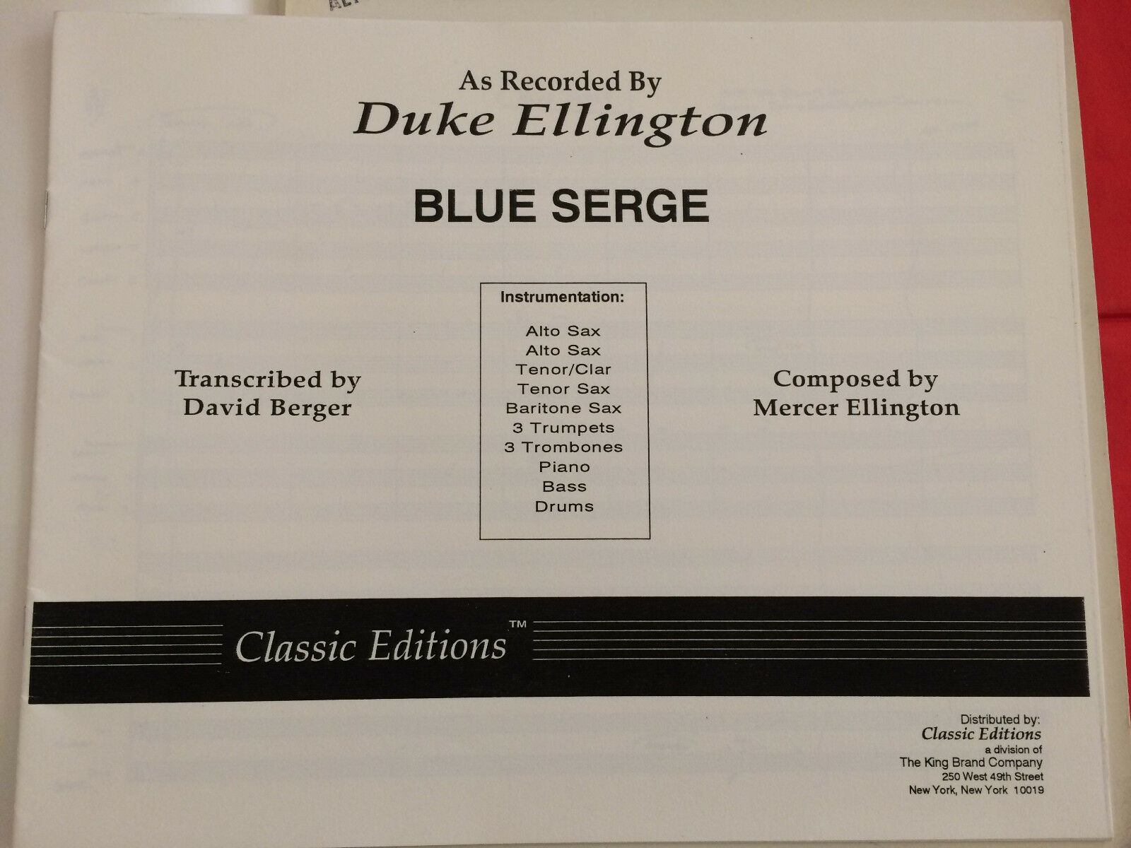 Blau Serge, Mercer Ellington, transcr. D. Berger, Big Band