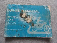 1979 Honda GL1000 Gold Wing Owners Manual GL 1000 Goldwing Motorcycle