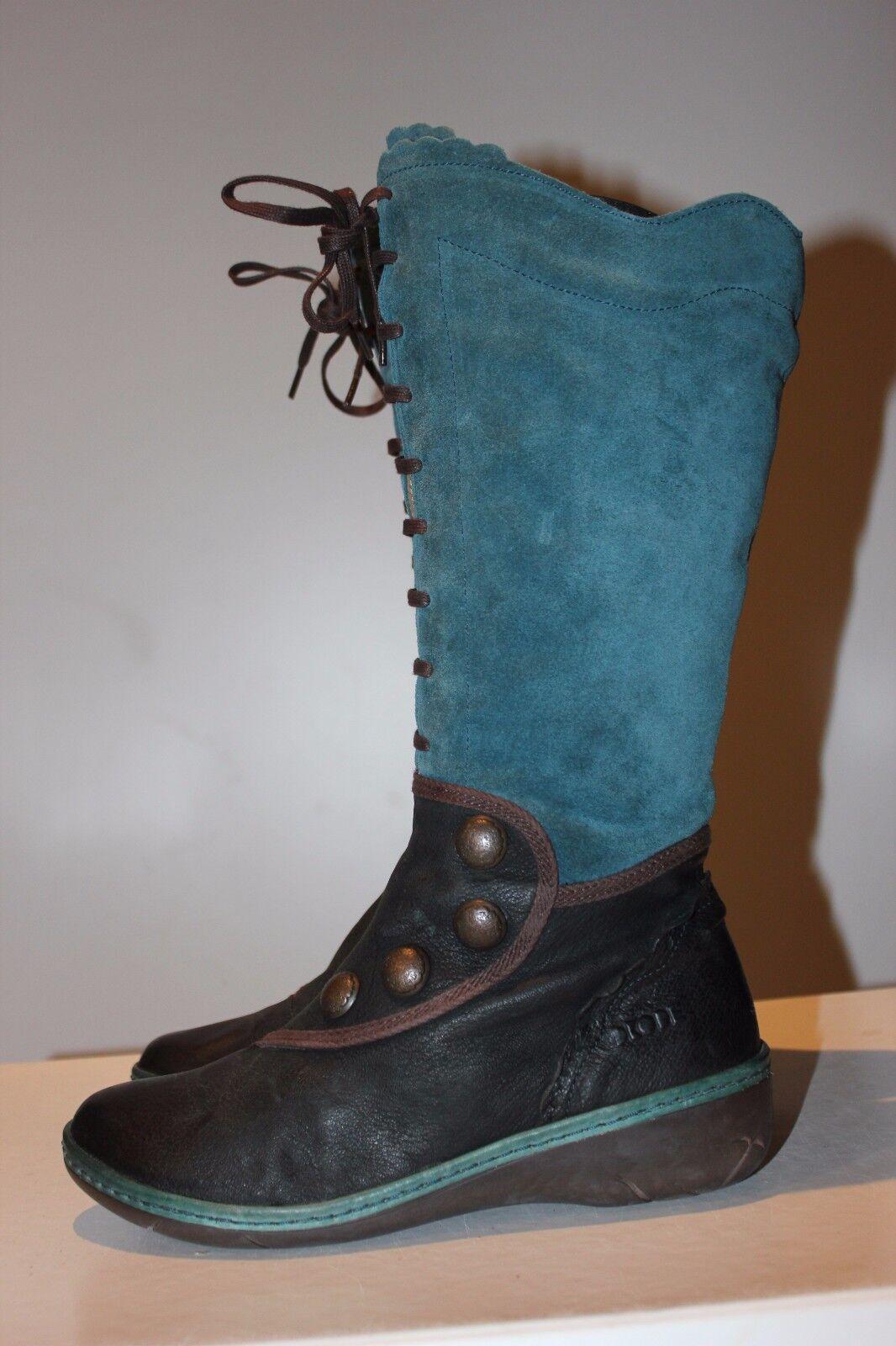 DKODE super bonito azul + Negro botas de cuero, impecable