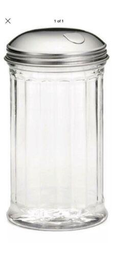 Saupoudreuse verre cannelé verseur Shaker couvercle en acier inoxydable côté rabat 12 oz environ 340.19 g