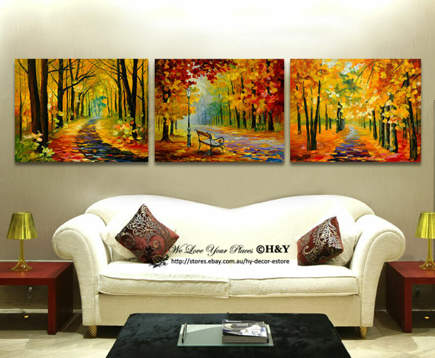 Set Of 3 Forest Boulevard Stretched Canvas Prints Framed Wall Art Decor Abstract