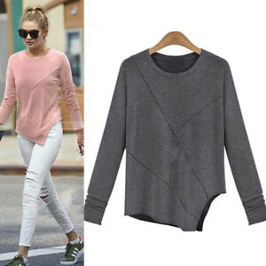 Women-Round-Neck-Long-Sleeve-Blouse-Pullover-Jumper-Autumn-Winter-Casual-Top-HK