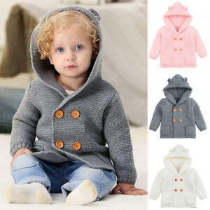 47e466437 Toddler Baby Boys Girl winter Knitted Hooded Coat Clothes Warm ...