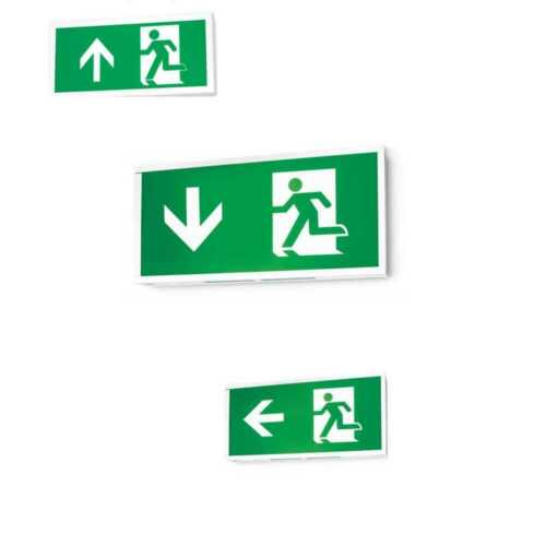 JCC LED 6w Emergency Exit Boxes White Aluminium Maintained with Legend