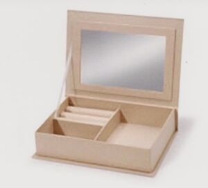 Image is loading Unfinished-Paper-Mache-Jewelry-Storage-Box-With-Mirror- & Unfinished Paper Mache Jewelry/Storage Box With Mirror~7-1/2