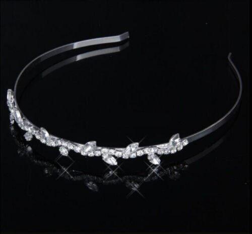 Luxus Haarreif Tiara Kranz Krone Kristall Strass Hochzeit Kommunion Braut Blatt
