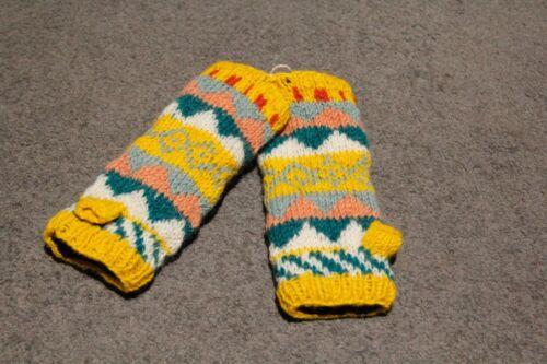 100/%HandKnitted Colourful Woollen Gloves Ski Wool Wrist Warmer FingerlessGloves
